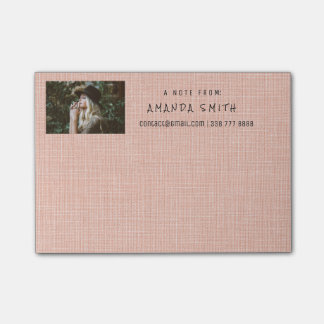 Photo Corporate Peach Pastel Natural Burlap Post-it Notes