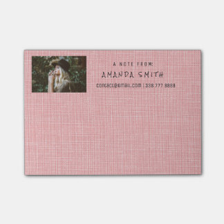 Photo Corporate Rose Pastel Natural Burlap Post-it® Notes
