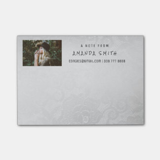 Photo Corporate White Silver Lace Post-it Notes