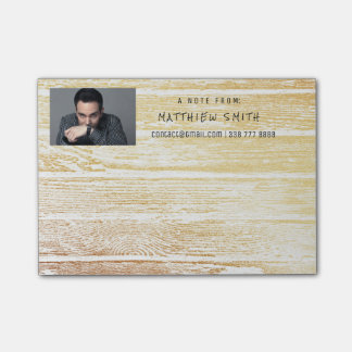 Photo Corporate White Wood Gold Post-it Notes