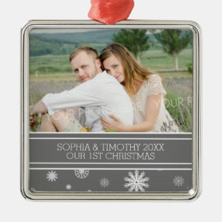 Photo Couples First Christmas Ornament Grey