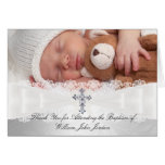 Photo Cross & Lace Baptism Thank You Card