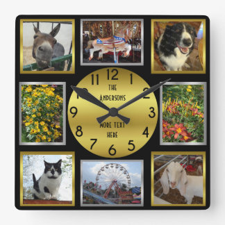 Photo Custom 8 Picture Personalised Black Gold Square Wall Clock