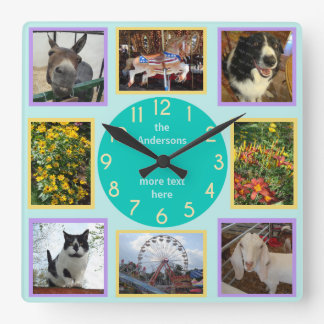 Photo Custom 8 Picture Personalized Color Block Wall Clocks