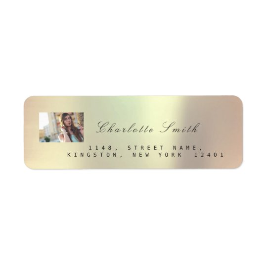 Photo Custom Rose Gold RSVP Adress Metallic VIP