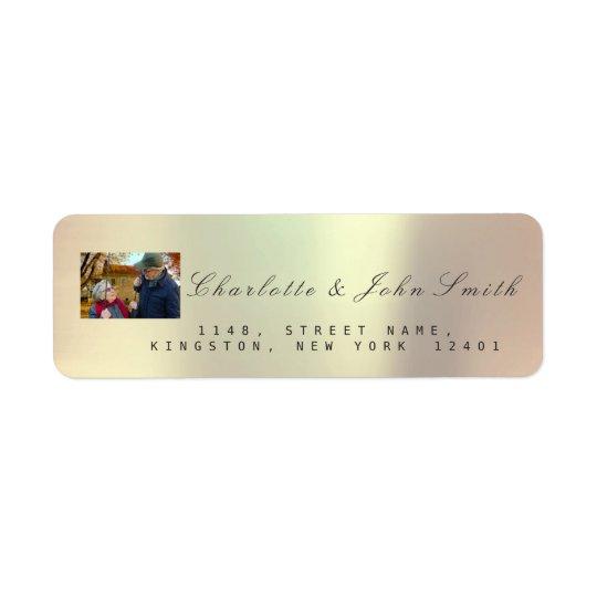 Photo Custom Rose Gold RSVP Copper Metallic VIP Return Address Label