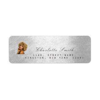 Photo Custom Silver Gray RSVP Adress Metallic Mini Return Address Label