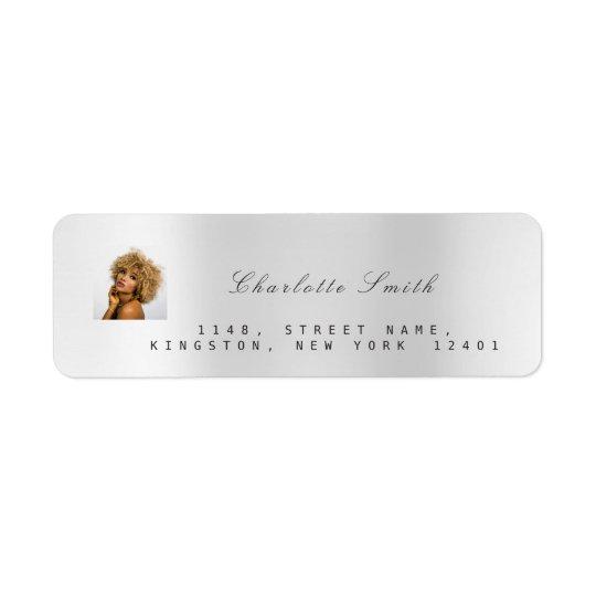 Photo Custom Silver Gray RSVP Adress Metallic VIP Return Address Label