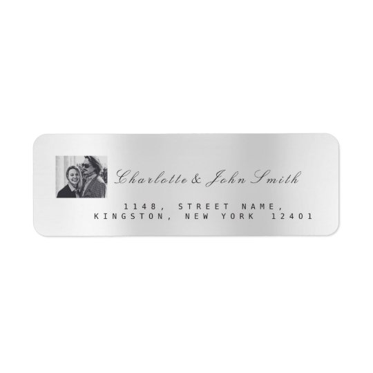 Photo Custom Silver Gray RSVP New  Adress Metallic Return Address Label
