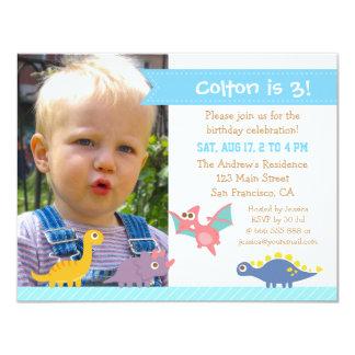 Photo Cute Colourful Dinosaur Birthday Party 11 Cm X 14 Cm Invitation Card