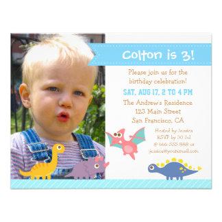 Photo Cute Colourful Dinosaur Birthday Party Custom Invitation