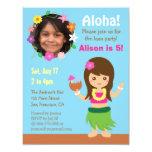 Photo Cute Hawaii Hula Girl Luau Party 11 Cm X 14 Cm Invitation Card