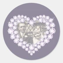 Photo diamond anniversary grey white stickers