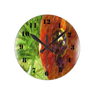 Photo drawing tulips round clock