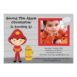 Photo Fireman Boy Firetruck Birthday Party Card