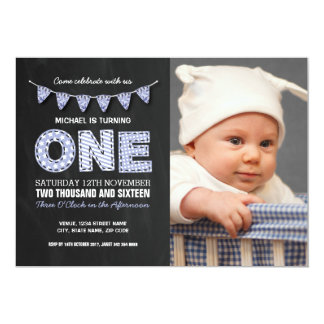 PHOTO FIRST BIRTHDAY PARTY | CHALKBOARD BUNTING 13 CM X 18 CM INVITATION CARD