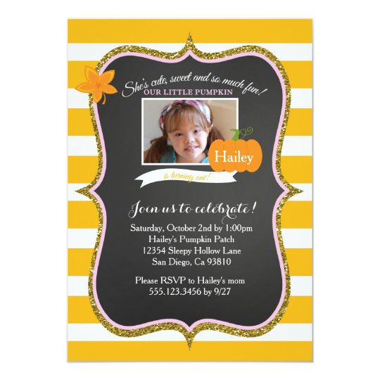 Photo First Pumpkin Birthday Party Invitation