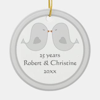 Photo Frame Lovebirds Anniversary Christmas Ornament