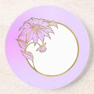PHOTO FRAME PORTRAIT WITH Lilac  Flowery Frame Beverage Coaster