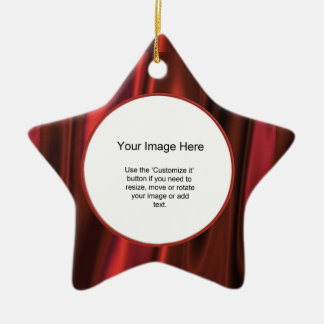 Photo Frame Template - Looks Like Smooth Red Satin Christmas Ornament