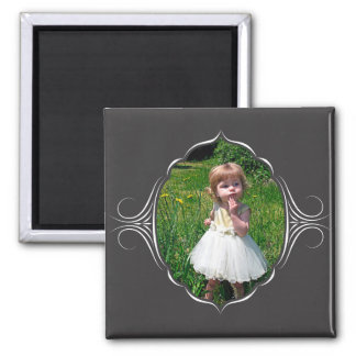 Photo frame with tribal look. square magnet