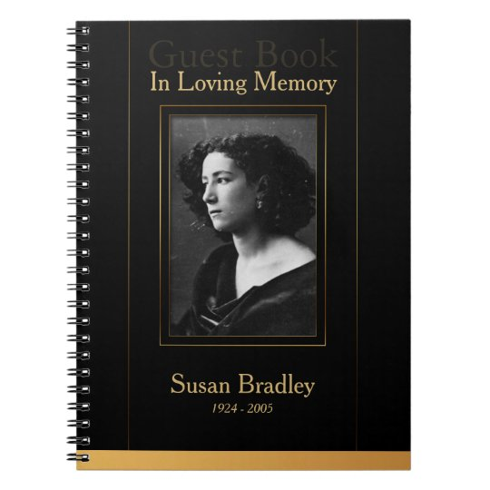 Photo Funeral GuestBook with gold piping Spiral Notebook