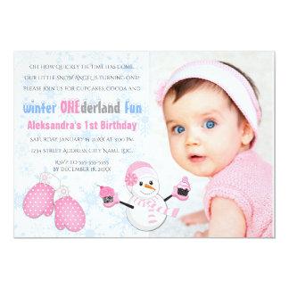 Photo Girl's Winter ONEderland Birthday Party 13 Cm X 18 Cm Invitation Card
