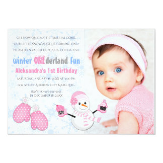 Photo Girl's Winter ONEderland Birthday Party Card