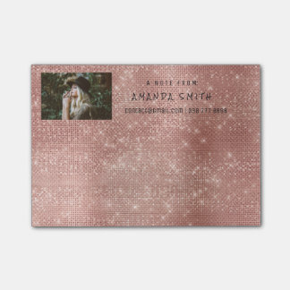 Photo Glam Custom Pink Rose Sparkly Diamond Sequin Post-it® Notes