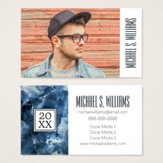 Photo Graduation | Abstract Blue Business Card