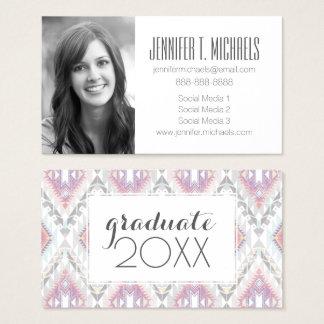 Photo Graduation | Abstract Geometric Aztec Business Card