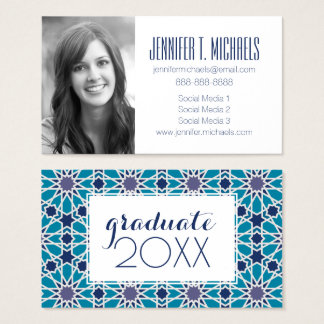 Photo Graduation | Abstract In Blue And Grey Business Card