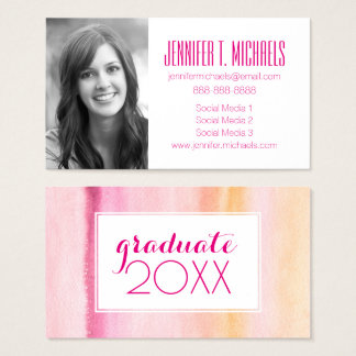 Photo Graduation | Abstract Watercolor Design Business Card