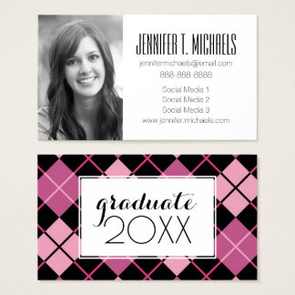 Photo Graduation   Argyle Pattern Business Card