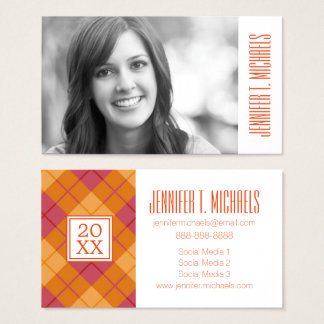 Photo Graduation | Bias Plaid in Orange and Pink Business Card