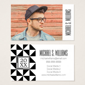 Photo Graduation | Black And White Triangles Business Card