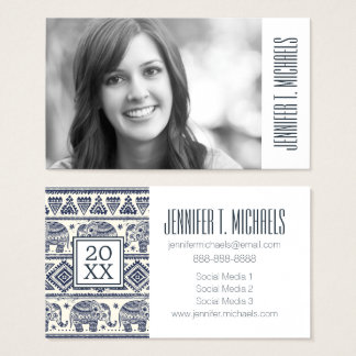 Photo Graduation | Blue Ethnic Elephant Pattern Business Card