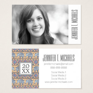 Photo Graduation | Blue Ethnic Elephants Business Card