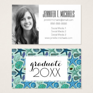 Photo Graduation | Blue Seashells And Starfish Business Card