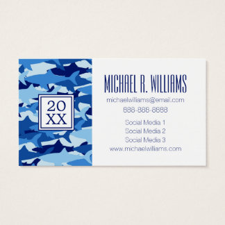 Photo Graduation | Blue Shark Pattern Business Card