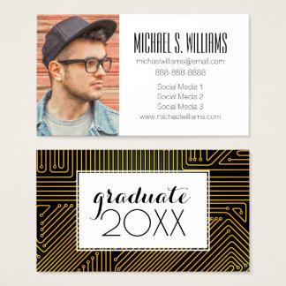 Photo Graduation   Computer Circuit Board Business Card