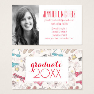 Photo Graduation | Cute Summer Pattern Business Card