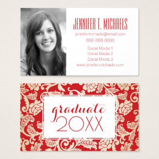 Photo Graduation | Damask Floral Background Business Card