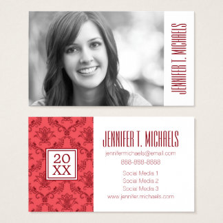Photo Graduation | Damask Floral Pattern Business Card