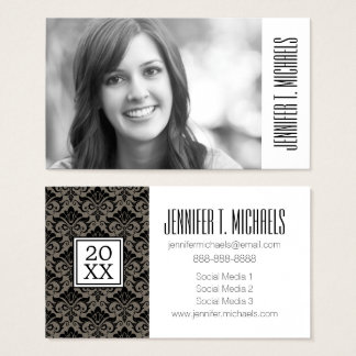 Photo Graduation   Damask Pattern Business Card