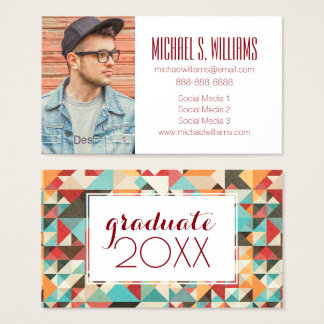 Photo Graduation | Earthtone Geometric Pattern Business Card