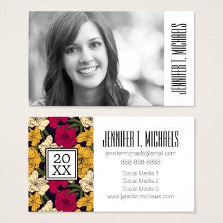 Photo Graduation   Elegant Floral Business Card