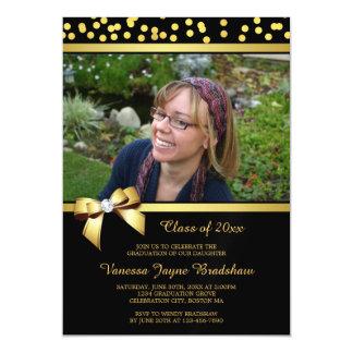 Photo Graduation Faux Bow Gold Confetti Black Magnetic Invitations