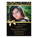 Photo Graduation Faux Gold Bow Confetti Black 13 Cm X 18 Cm Invitation Card