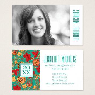 Photo Graduation   Floral pattern Business Card